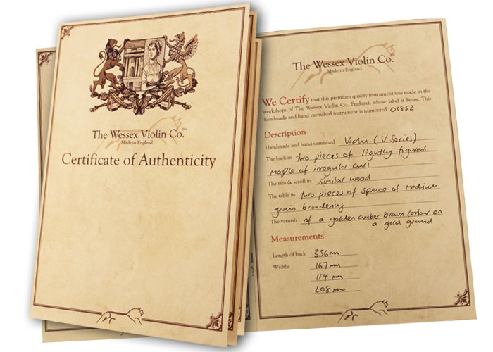 Certificate of Authenticity Wessex Violins